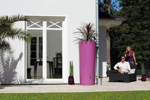 Regentonne 350 Liter Garantia Color 2in1 Regenspeicher mit integrierter Pflanzschale cassis