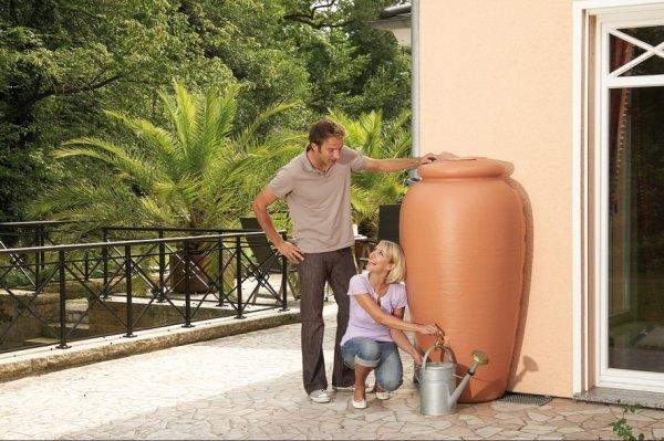 Regentonne 350 Liter Garantia Mediterrane Wandtank Amphore terrakotta