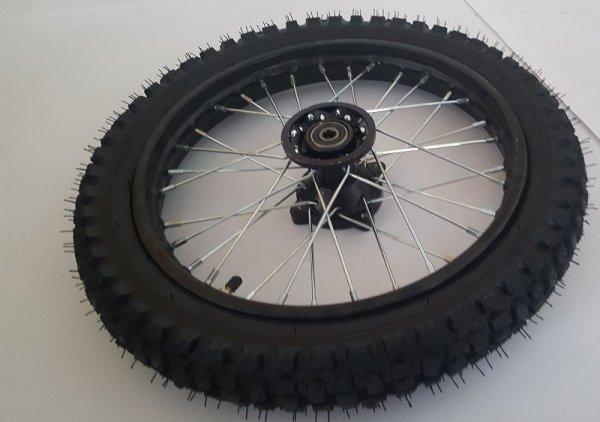 """Komplettrad 14"""" vorne Racing - achse ø15mm - Dirtbike Pitbike Mini Moto Crossbike"""