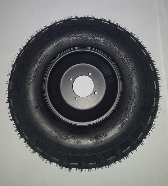 Komplettrad Felge mit Reifen 4-Loch 19x7-8 schwarz