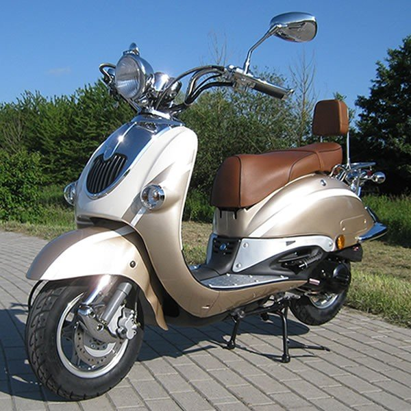 Retro Scooter ZN50QT champagne OHNE Koffer