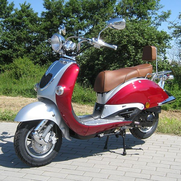 Retro Scooter ZN50QT weiß OHNE Koffer
