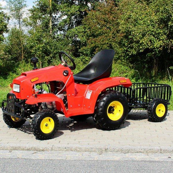 110cc Kindertraktor rot mit Anhänger