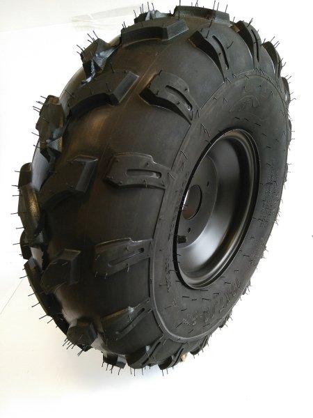 Komplettrad Felge Reifen 3-Loch 18x9,5-8 schwarz Offroad Bereifung hinten rechts